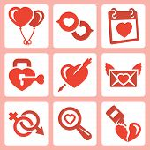 stock photo of broken hearted  - Vector isolated love icons set - JPG