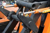 stock photo of hydraulics  - Detail of hydraulic bulldozer piston excavator arm - JPG