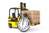 foto of lift truck  - Forklift truck with boxes and Stopwatch on a white background - JPG