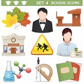 foto of pupils  - School Icons Set 4 including  autumn leaves - JPG