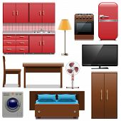 stock photo of televisor  - Home furniture icons including  cupboard - JPG