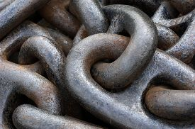 picture of anchor  - a close up of an old anchor chain