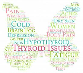 picture of stiff  - Thyroid issues butterfly shaped word cloud on a white - JPG