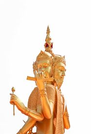 stock photo of brahma  - Golden statue of Brahma isolated on white background clipping path - JPG