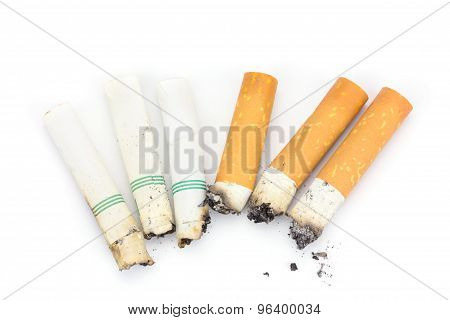 Close Up Butt Cigarettes Isolated On White Background