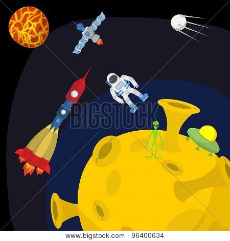 Space Landscape: Moon And Alien. Ufo And Rocket. Vector Illustration.