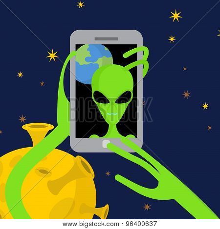 Alien Makes Selfie In Space. Space Alien Takes Pictures Of Herself On Phone Against A Backdrop Of Pl