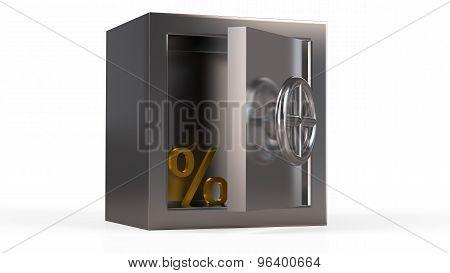 Security Metal Safe With Golden Symbol Inside