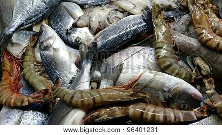 background with fish and seafood