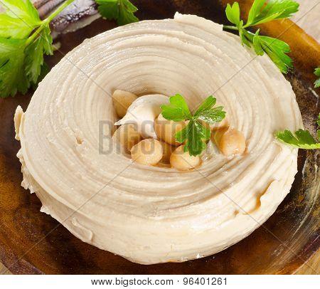 Plate Of A Creamy Hummus.
