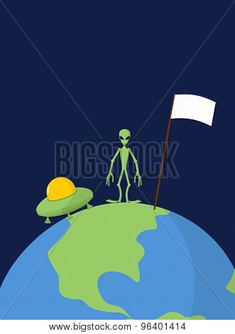 Ufo And Alien With White Flag Stands On Earth. Vector Illustration