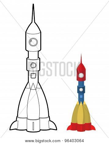 Rocket Coloring Book. Space Transport Astronauts. Vector Illustration