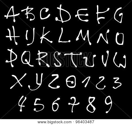 White Liquid Font And Number Alphabet Over Black