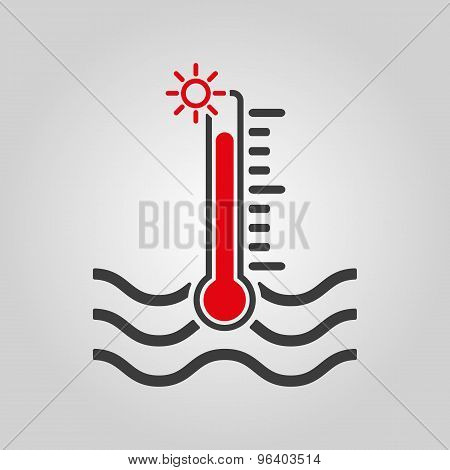 The warm water temperature icon. Hot liquid symbol. Flat