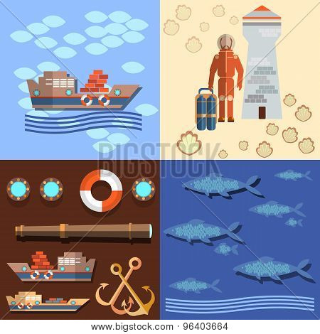 Industrial Fishing In The Oceans And Seas, Diver And A Lighthouse,.salmon, vector Illustration