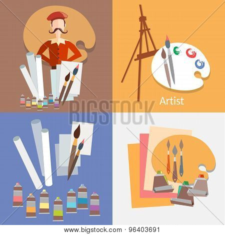 Painter Tools For Painting Drawing Paint Watercolor Gouache Paper Easel Vector Flat Illustration