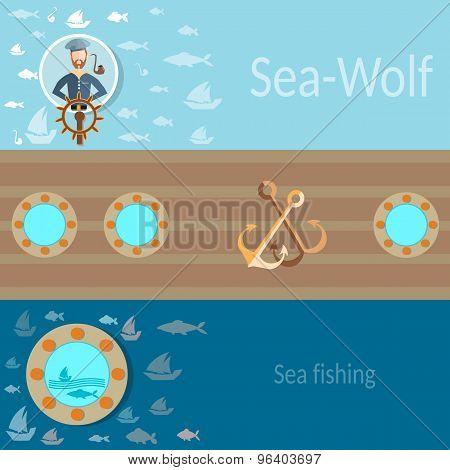 Sea And Sailing, Sailor, Ship, Fishing, Anchor, Flat Vector Banners