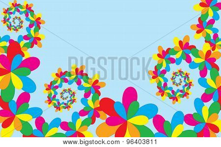 Summer Background, Whit Colorful Floral Elements