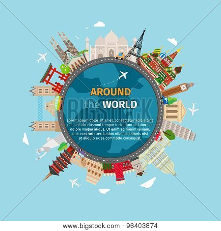 Travel around the world postcard
