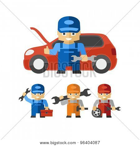 Mechanic Cartoon Character Figures With Tools