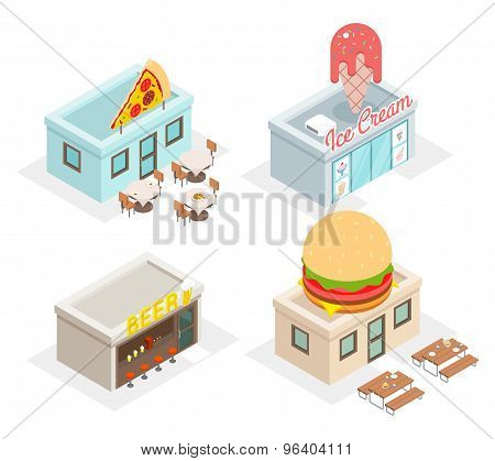 Restaurant, cafes and fast food shop icons