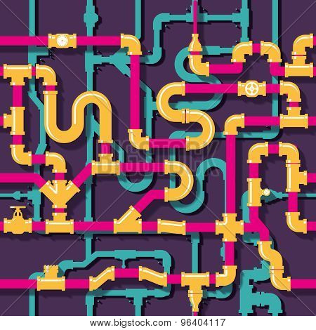 Water piping seamless pattern
