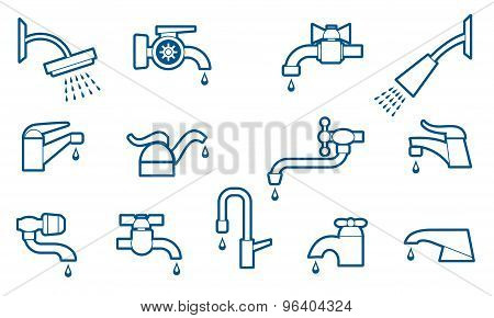 Water tap or faucet line icons set