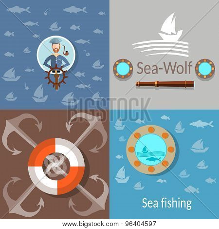 Old Sailor, Sailing On The Waves,lifeline, Anchor,spyglass, Porthole, Depth Of The Sea, Icons Set