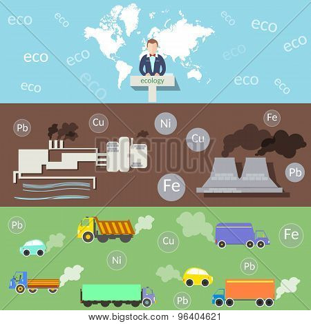 Ecology And Environment, Environmental Conference, Pollution, Smoke And Smog Plants, Vector Banners