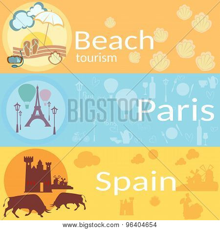 Travel Around The World: France, Spain, Beaches, Resorts, Vector Banners