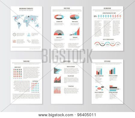 Set of templates for business brochures, web pages and flyers