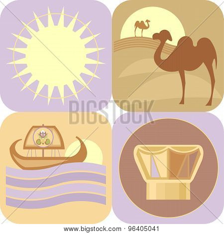 Travel To Egypt, Vector Icons