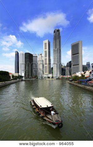 Singapur Flüssen und Boot