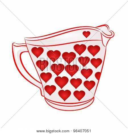 Milk Jug With Red Hearts Vector