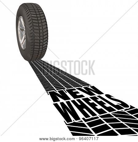 New Wheels car tire tread tracks to illustrate the latest product upgrade or vehicle reviews, ratings or details
