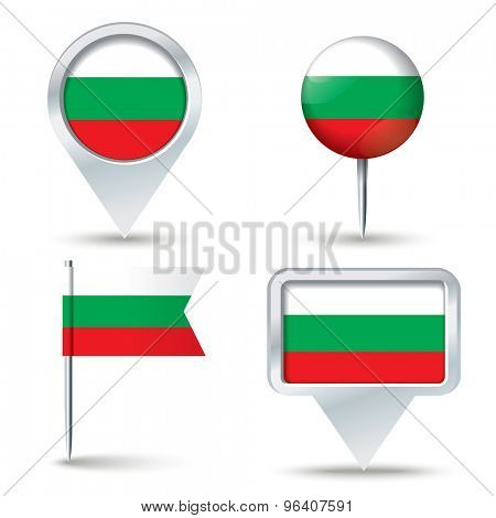 Map pins with flag of Bulgaria - vector illustration