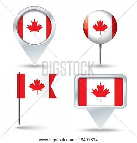 Map pins with flag of Canada - vector illustration