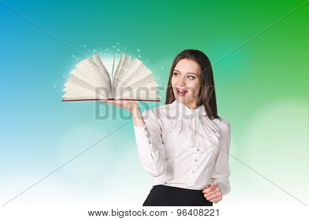 Businesswoman with a book