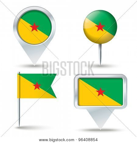 Map pins with flag of French Guiana - vector illustration