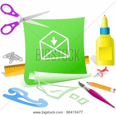 mail downarrow. Paper template. Vector illustration.