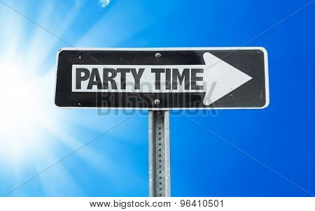 Party Time direction sign with a beautiful day