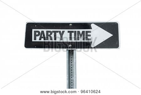 Party Time direction sign isolated on white