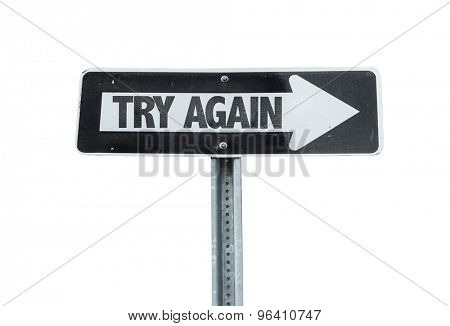 Try Again direction sign isolated on white