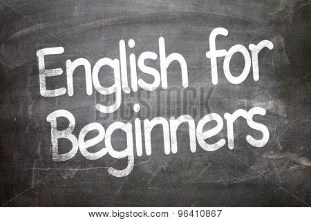English for Beginners written on a chalkboard