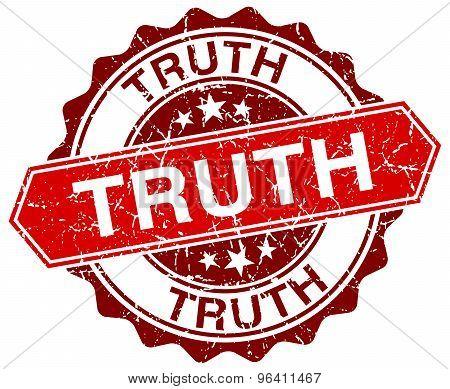 Truth Red Round Grunge Stamp On White