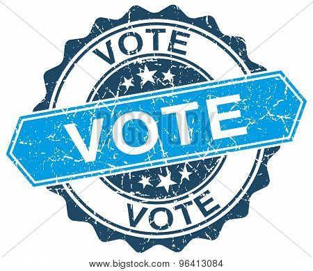 Vote Blue Round Grunge Stamp On White