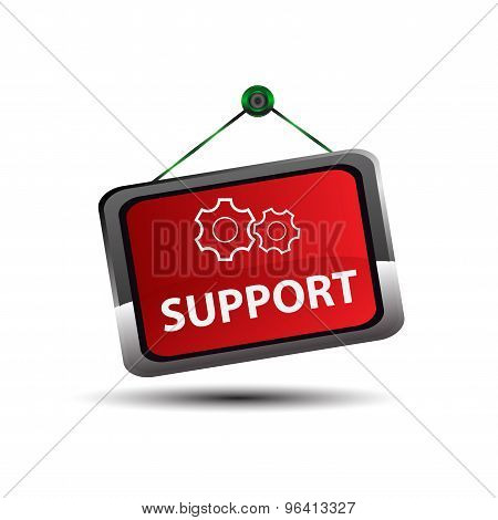 Vector support sign label design eps template.