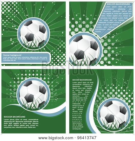 Set of soccer vector background in retro style