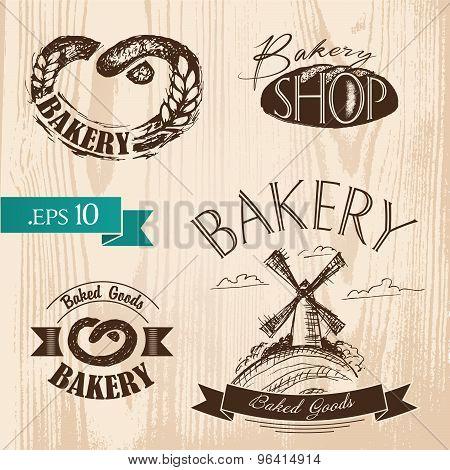 Set of vintage bakery labels, badges and design elements.