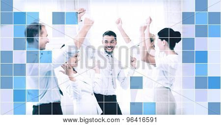 business, people, achievement and success concept - happy business team celebrating victory in office over blue squared grid background